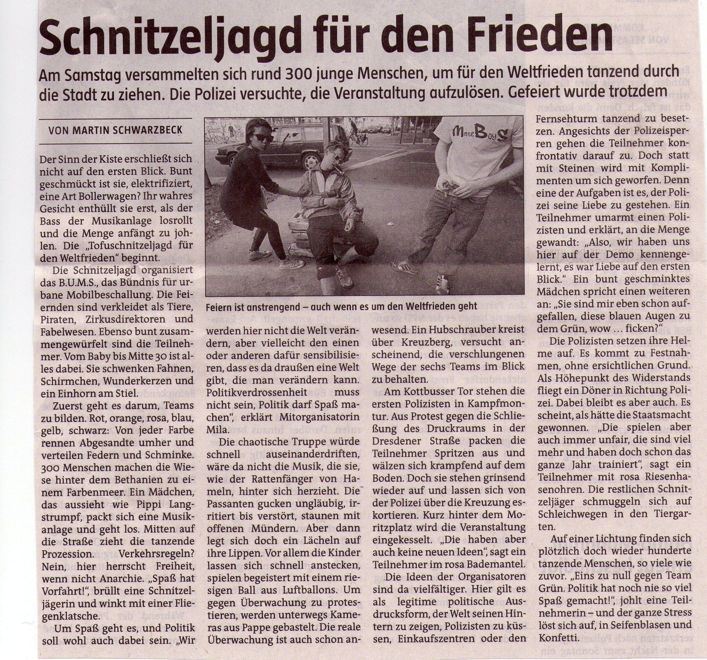 Scan aus der taz vom 7.4.2009, Schnitzeljagd in Berlin für den Weltfrieden.